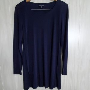 Eileen Fisher 100% Silk Navy Tunic Top